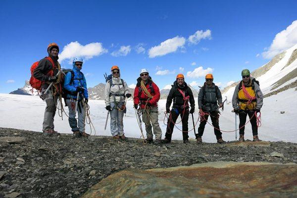 No Col du Mont Rouge, preparados para iniciar a travessia do Glacier du Giétro