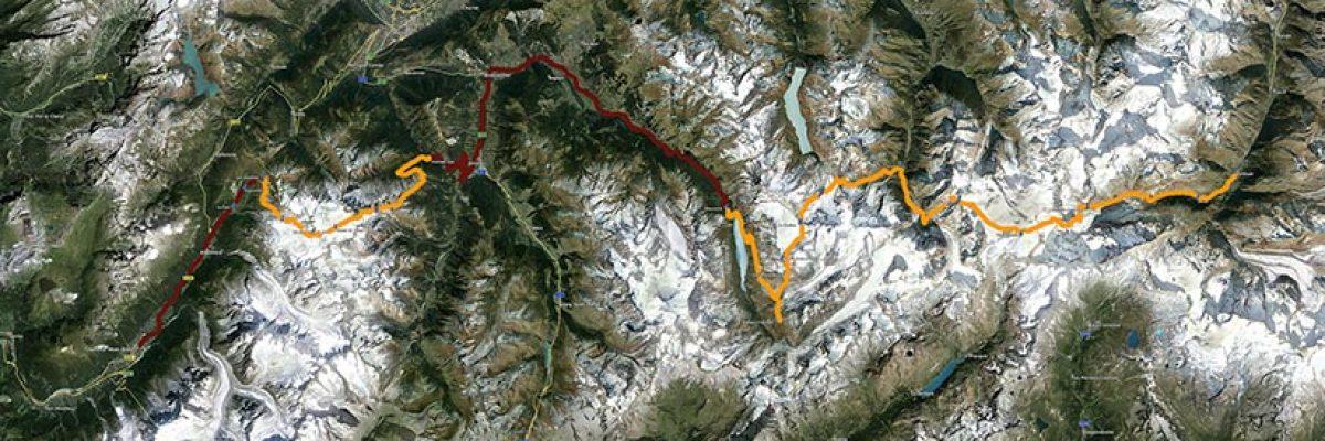 Percurso efetuado pelo GEM na Haute Route entre Chamonix e Zermatt - Clique para ampliar.